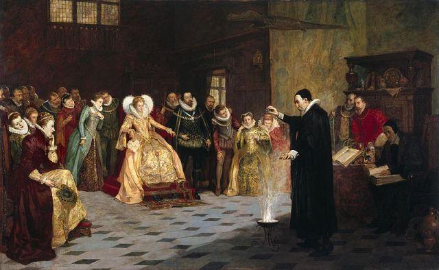 800px-Glindoni_John_Dee_performing_an_experiment_before_Queen_Elizabeth_I
