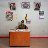 Bolivia, bureaucracy (police), Potosi, 2005. Bolivia-08/2005 [Tin., CAVC (b. 1950)]. Constantino Aya Viri Castro (b. 1950), previously a construction worker, is a police officer third class for the municipality of Tinguipaya, Tomás Frías province. The police station does not have a phone, car or typewriter. Monthly salary: 800 bolivianos ( euro 189, US$ 100).
