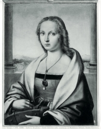 """Saint Catherine of Alexandria, the portrait of Maddalena Strozzi (now known as the """"Lady with unicorn"""") before the restoration of 1935 that brought to light the unicorn, Raffaello Sanzio (1483-1520), Borghese Gallery, Rome1900 ca.Raffaello Sanzio (1483-1520);;Raphael1506Rome - The Borghese Gallery"""