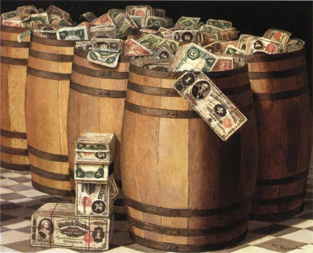 Victor_Dubreuil_-_Barrels_on_Money,_c._1897_oil_on_canvas