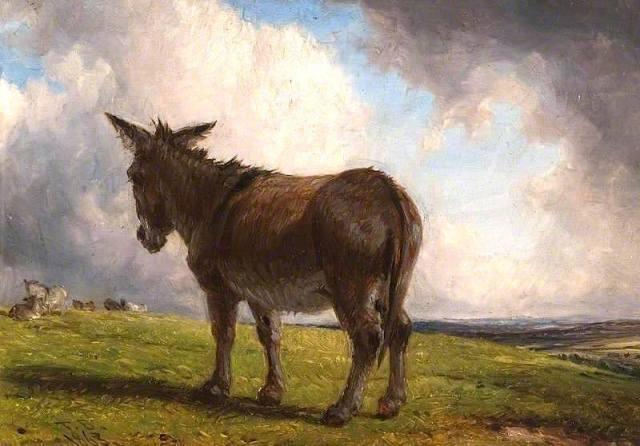 Thomas Baker - A Donkey in a Landscape (1863)