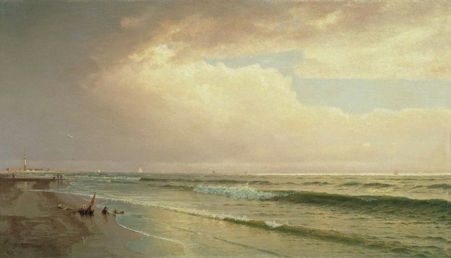 William_Trost_Richards_-_Seascape_with_Distant_Lighthouse,_Atlantic_City,_New_Jersey_(1873)