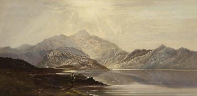 Charles Leslie - Welsh Landscape, Llyn Nant-y-Clif, North Wales (1871)
