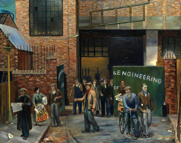 Selling the 'Daily Worker' outside Projectile Engineering Works 1937 by Clive Branson 1907-1944