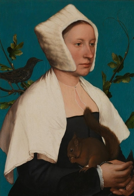 Hans Holbein - Portrait of a Lady with a Squirrel and a Starling, probably Anne Lovell (c. 1526-28)