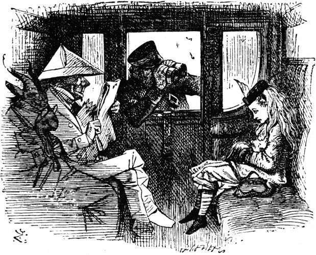 John Tenniel - Alice on the train (1871)