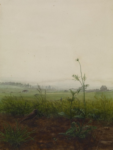 Léon Bonvin - Landscape with Bird and Weeds (1864)