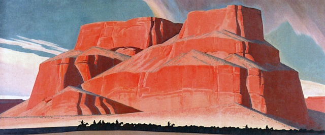 Maynard Dixon - Red Butte with Mountain Men (1935)