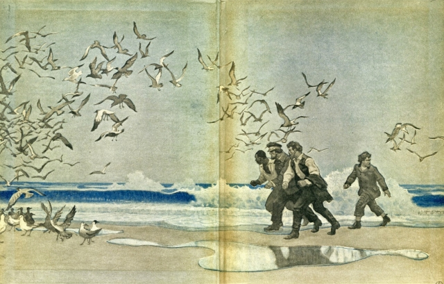 N. C. Wyeth - The Mysterious Island - endpapers (1918)