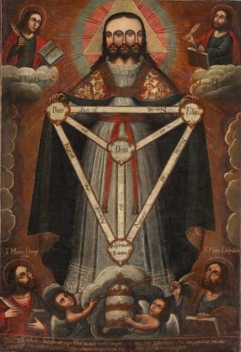 Anonymous Cusco School - Trifacial Trinity (c. 1750 - 1770)