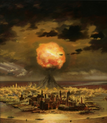 Chesley Bonestell - Atom Bomb Hit New York City (1950)