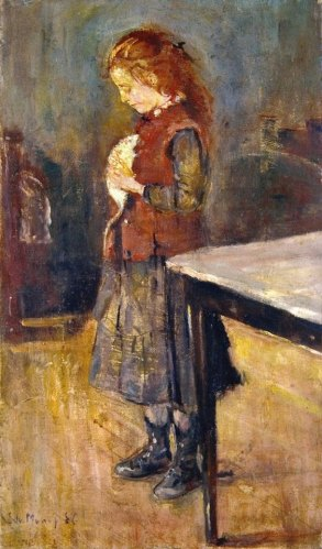 Edvard Munch - Red-Haired Girl with White Rat (1886)