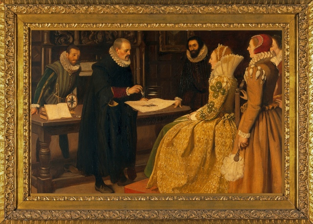 V0018144 William Gilbert demonstrating the magnet before Queen Elizab