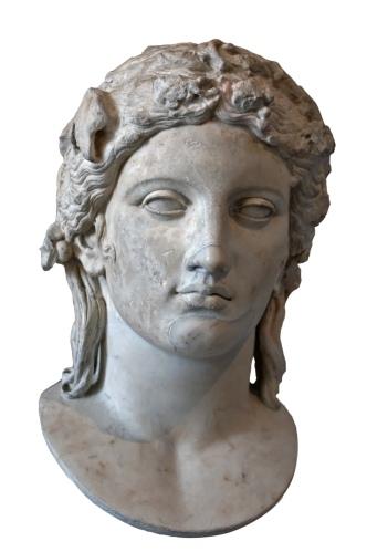 Head of Apollo of the Anzio type. Marble, Roman copy of a Greek original of the 4th century