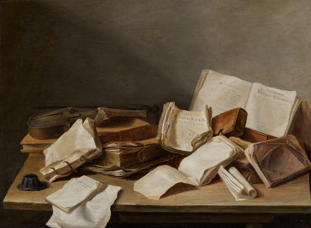 Jan Davidsz de Heem - Still Life with Books and a Violin (1628)