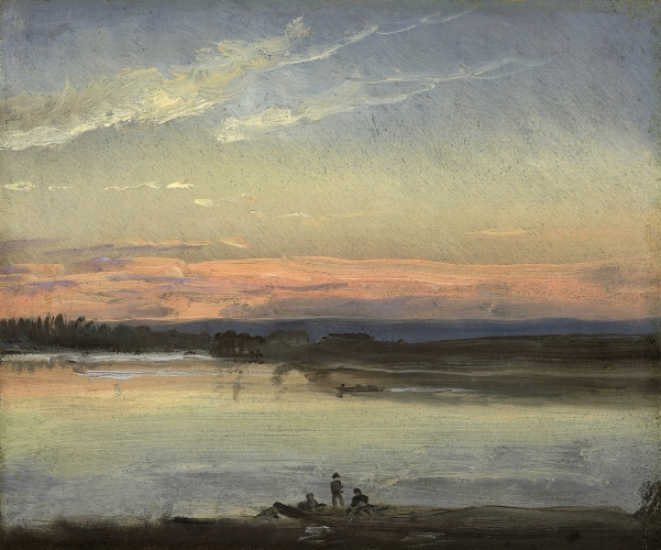 Johan Christian Clausen Dahl - Sunset over the River Elbe, Dresden (c. 1840)