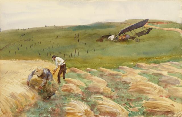John Singer Sargent - Crashed Aeroplane (1918)