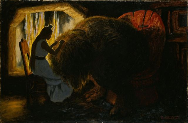 Theodor Kittelsen - The Princess Picking Lice from the Troll (1900)