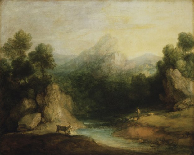 Thomas Gainsborough - Pastoral Landscape (Rocky Mountain Valley with a Shepherd, Sheep, and Goats) (c. 1783)