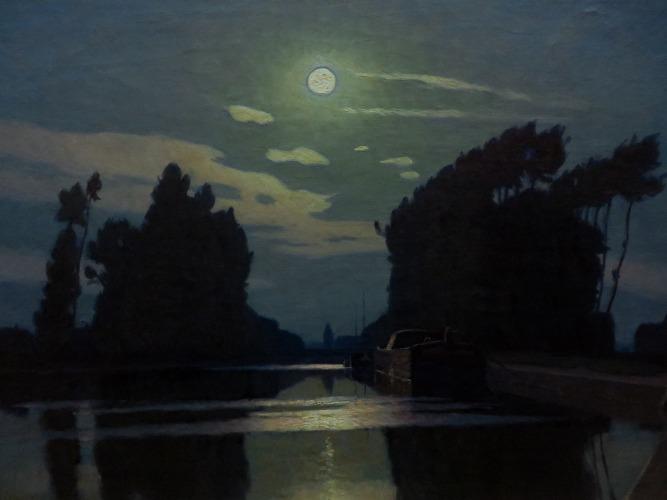 Charles Guilloux - Lever de lune sur un canal (c. 1890)