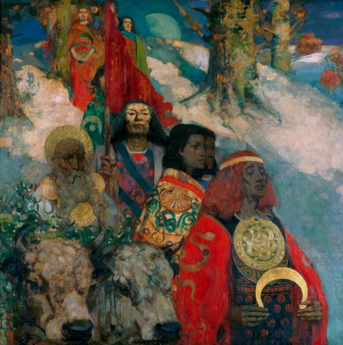 Edward Atkinson Hornel - Druids Bringing In The Mistletoe (c. 1890)