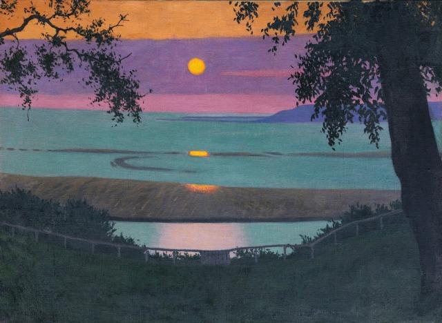 Félix Vallotton - Sunset at Grace, Orange and Violet Sky (1918)