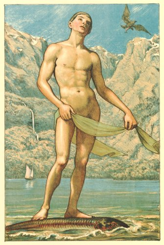 Hans Thoma - Frühling auf dem Gebirgssee (Spring on a Mountain Lake) (1898)