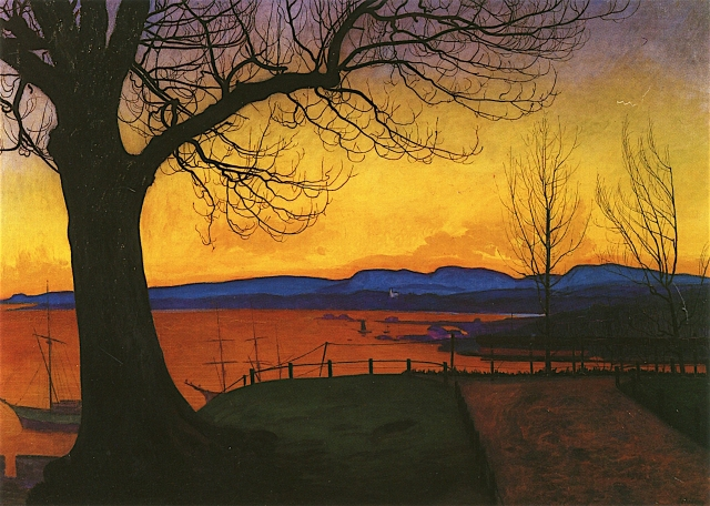 Harald Oskar Sohlberg - Evening, Akershus (1913)