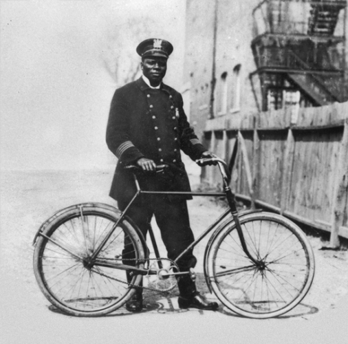 Patrolman James A. Saunders, Plainfield NJ's first African-American police officer (c 1910)