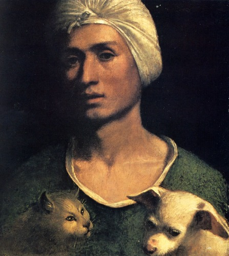 portrait-of-a-young-man-with-a-dog-and-a-cat