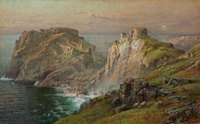 William Trost Richards, Tintagel, 1881, Watercolor on paper moun