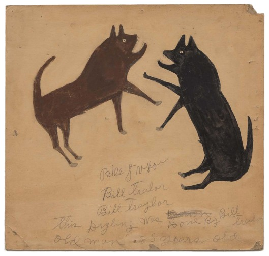 Bill Traylor - Untitled (Dog Fight with Writing) (c. 1939-40)