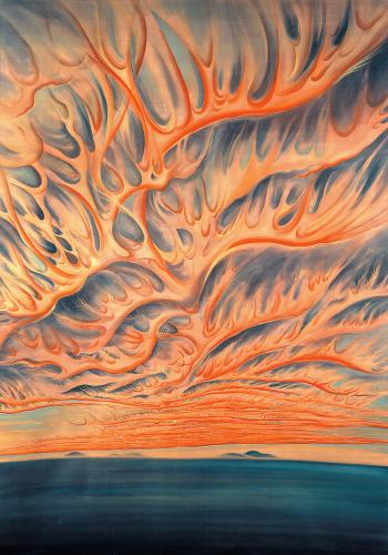 Chiura Obata - Setting Sun on Sacramento Valley, California (1930)