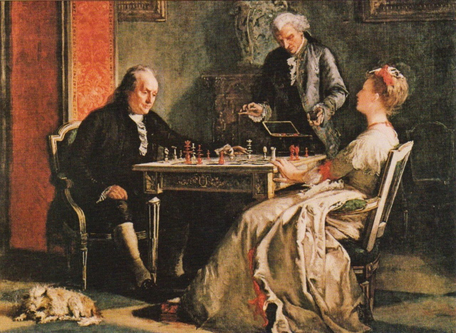 Edward Harrison May - Lady Howe Mates Benjamin Franklin (1867)