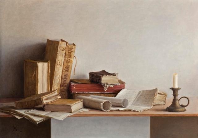 Guillermo Muñoz Vera - Libros antiguos y palmatoria (2002)