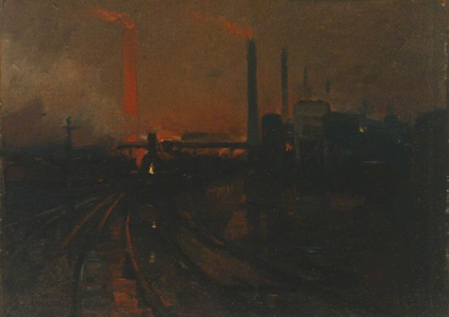Walden, Lionel, 1861-1933; The Steel Works, Cardiff at Night