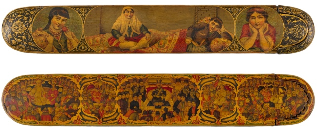 Muhammad Kazim - Pen Box, Iran, late 19th Century (bottom with portraits of Nasir al-Din Shah and persian rulers from the Shāhnameh)