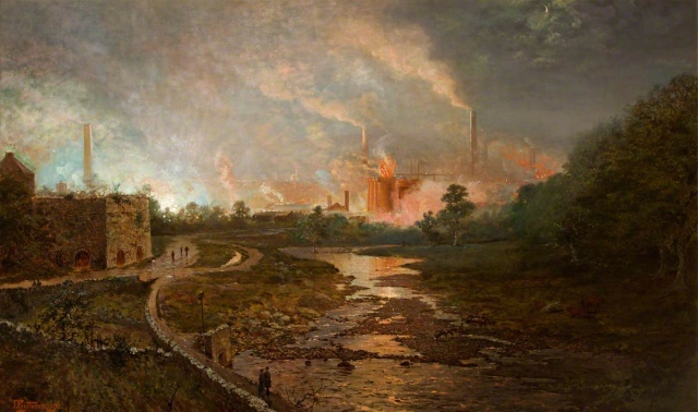Prytherch, Thomas, 1864-1926; Cyfarthfa Steel Works at Dusk