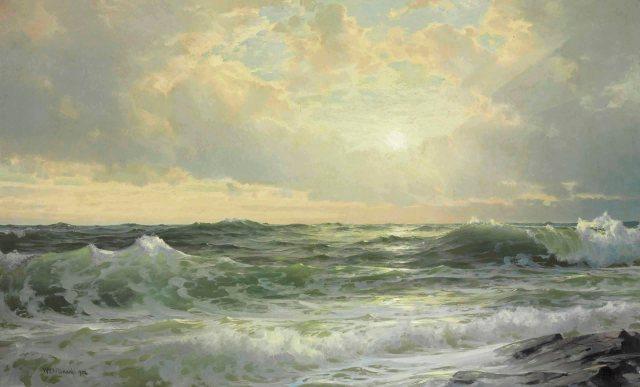 William Trost Richards - Sunset at Cape Ann, Massachusetts (1902)
