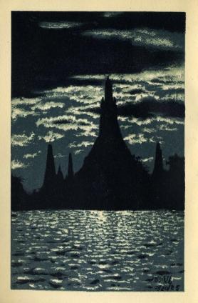 Bangkok Siam - Wat Arun at Night (1928)