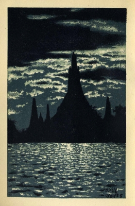 Bangkok Siam - Wat Arun at Night (1928)