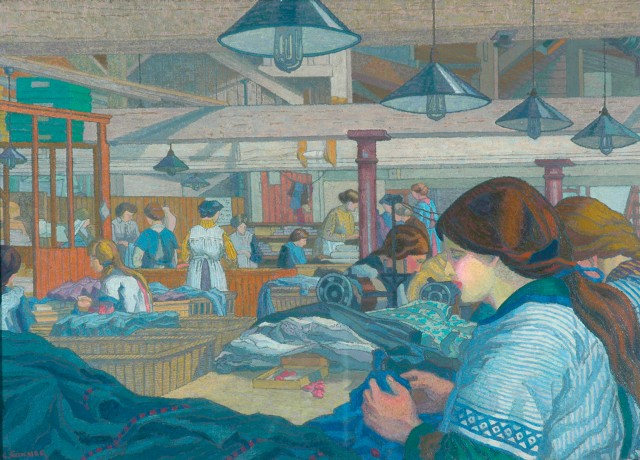 Charles Ginner - The Dressmaking Factory (c. 1914)
