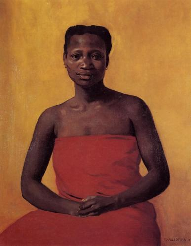 Félix Vallotton -- Seated Black Woman, Front View (1911)