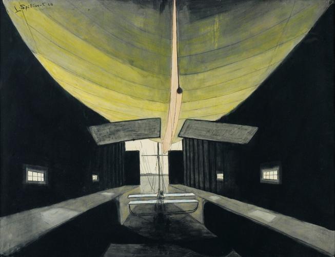 Léon Spilliaert - Dirigible in a Hangar (1910)