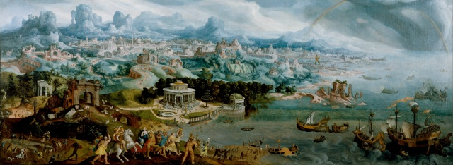 Maerten van Heemskerck - Panorama with the Abduction of Helen Amidst the Wonders of the Ancient World (1535)