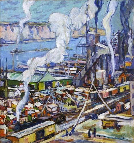 Daniel Putnam Brinley - Hudson River View (Sugar Factory at Yonkers) (1915)