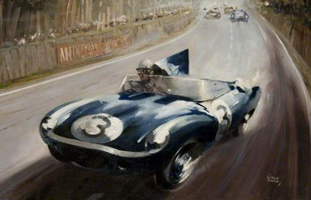 Carr, Leslie, 1891-after 1951; D-Type Jaguar at Le Mans 1957