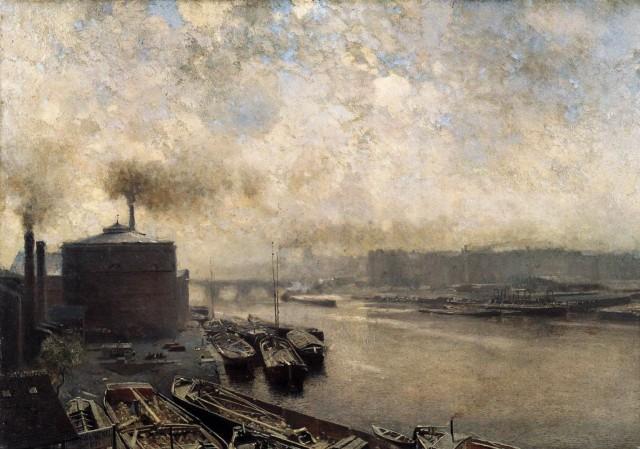 Adolf von Meckel - British Gas Works on the River Spree (before 1893)
