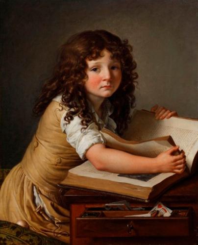 Anne-Louis Girodet de Roussy-Trioson - Benoît Agnès Trioson Reading a Book (1797)