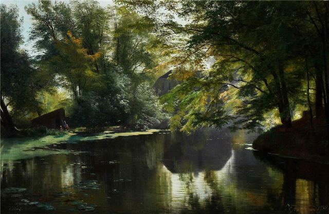 Carl Frederik Aagaard - View of a Forest Lake with an Angler and His Family (1880)